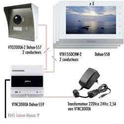 Kit-IP-vidéophone-Dahua-câblage simplifié avec 3 moniteurs