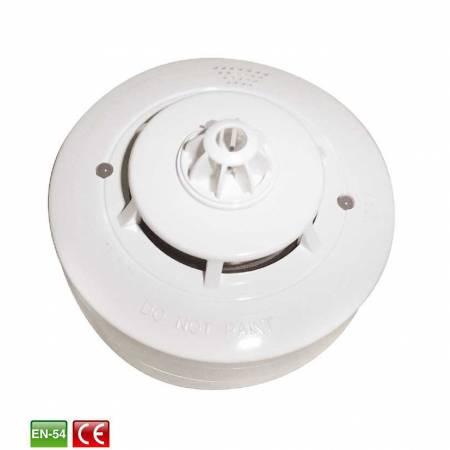 Détecteur température et fumée - optique - avec buzzer et relais et reset automatique (socle inclu) 4 fils