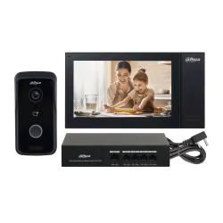 """Kit vidéophone lecteur de badge 1Mp IP Dahua RJ45 avec 1 moniteur 7"""" de 1024x600p 720p"""