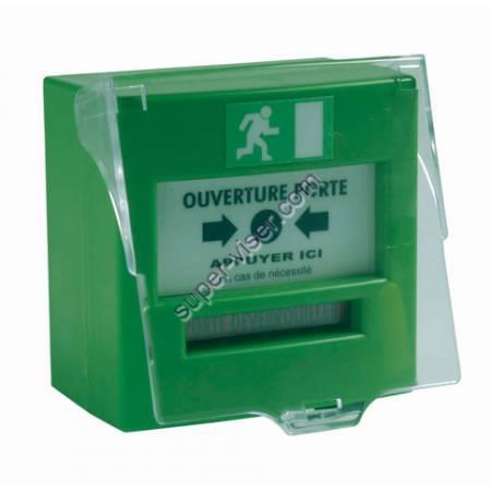 Déclencheur manuel vert à membrane clapet 2 contacts
