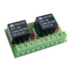 Carte 2 relais 12VDC à commande inférieure à 50 mA avec voyants sur platine AWZ529