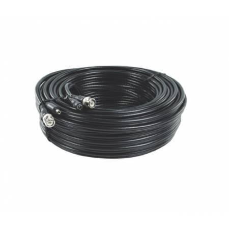 Cordon composite coaxial RG59 et alimentation 12VDC de 20m avec connecteurs