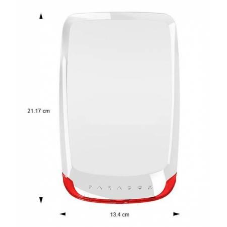 Vue avec dimensions de la sirène extérieure radio avec flash intégré Paradox réf-SR130