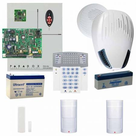 Kit MG5000 avec transmetteur vocal, clavier, 2 sirènes, 2 batteries, 3 détecteurs sans fil et 1 télécommande Paradox