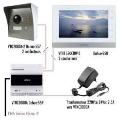"""Kit vidéophone IP Dahua technologie 2 conducteurs avec 1 moniteur 7"""""""