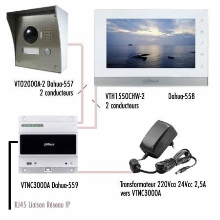 Kit-IP-vidéophone-Dahua-câblage simplifié avec 1 moniteur