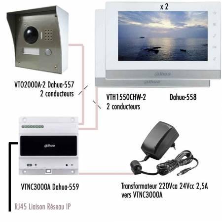 Kit-IP-vidéophone-Dahua-câblage simplifié avec 2 moniteurs