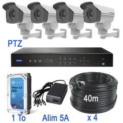 Kit vidéosurveillance 4 caméras PTZ HD-TVI de 2 mégapixels zoom x 4