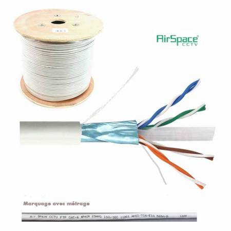 Touret de 305m de câble FTP Cat.6 blindé AWG23