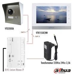 """Kit vidéophone IP Dahua RJ45 avec 1 moniteur 7"""""""