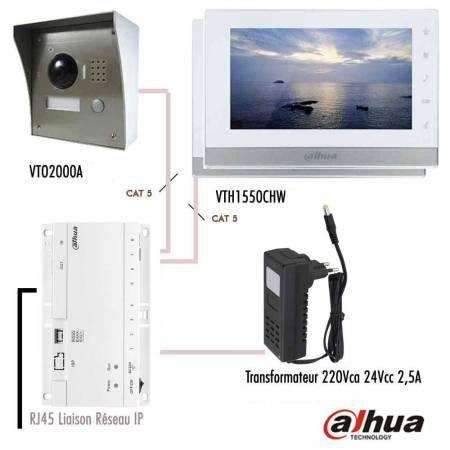 Kit vidéophone IP Dahua sur RJ45 avec 2 moniteurs