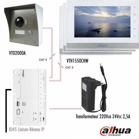 Kit vidéophone IP Dahua sur RJ45 avec 3 moniteurs