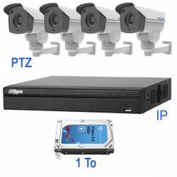 Kit vidéosurveillance motorisé 4 caméras PTZ IP de 2 mégapixels zoom x 4