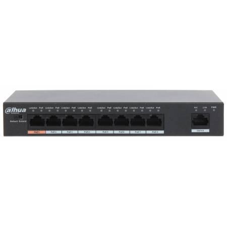 Switch PoE, PoE+ et HiPoE de 8 ports jusqu'à 250m avec l'extend mode Dahua