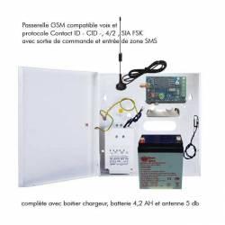 Passerelle GSM en boitier pour système d'alarme, téléassistance, ascenseur compatible CID, 4/2, SIA fSk